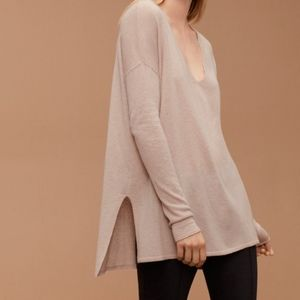 Aritzia Babaton Erin V-Neck Wool Linen Sweater